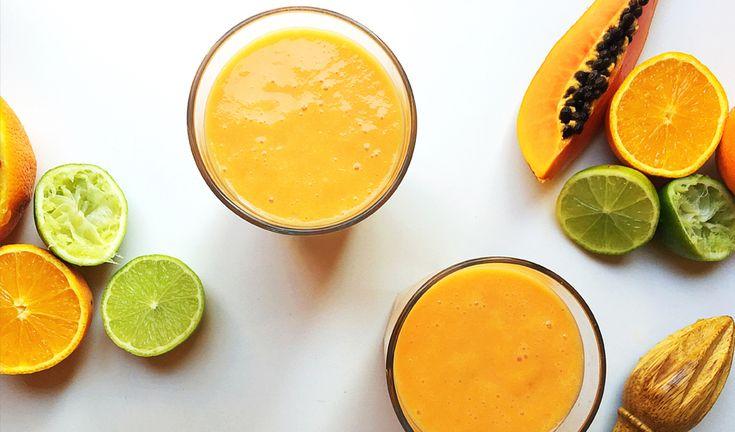 Papaya, Coconut and Citrus Smoothie Recipe #glutenfree #vegan #healthy