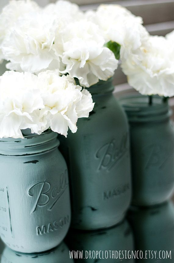 Chalk Paint Mason Jars Duck Egg Blue by dropclothdesignco on Etsy