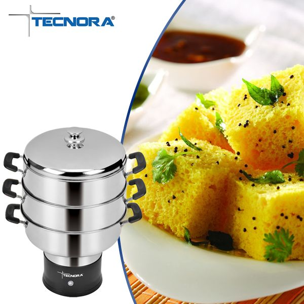 Featuring 3 Stainless steel Chambers, Tecnora Multisteam Cooker allows you to prepare a complete meal at one go. You can serve 3 different snacks for breakfast at a time- Idli, Dhokla & Patra