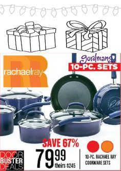Cook up an amazing Holiday meal in the 10 piece Rachel Ray cookware set! Check out our Black Friday ad online now!