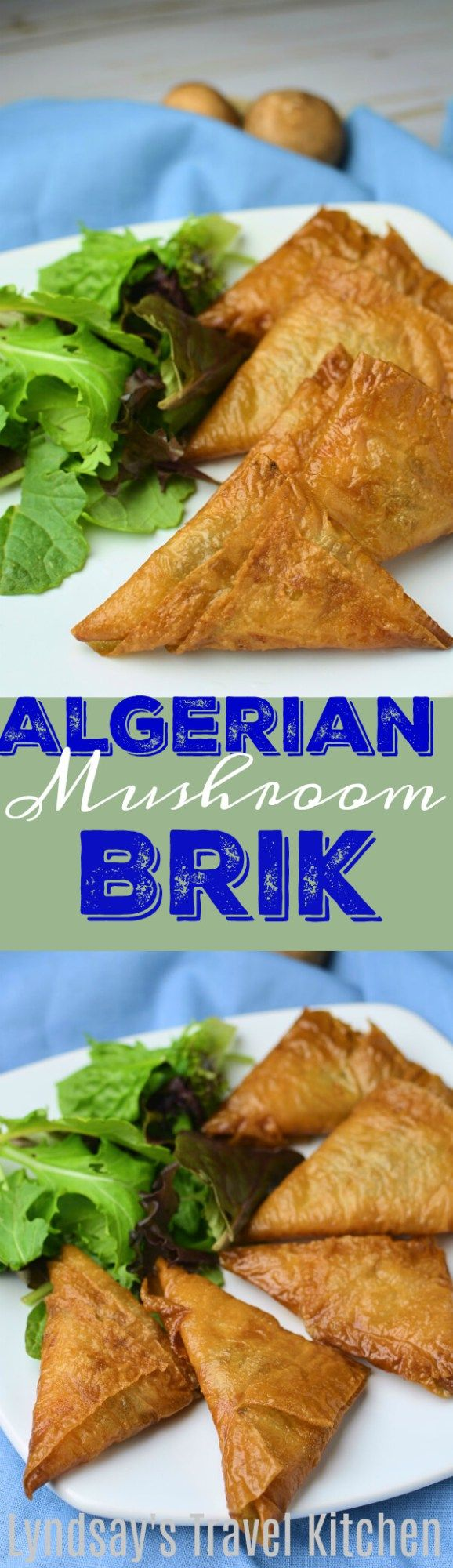Learn how to make Algerian Mushroom Brik, an African appetizer filled with mushrooms and garlic then fried. Get the recipe at www.lyndsaystravelkitchen.com