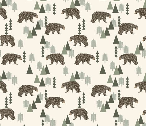 Camping Bear - Greens by Andrea Lauren fabric by andrea_lauren on Spoonflower - custom fabric