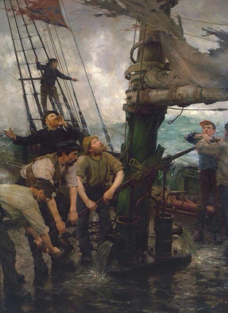 'Todas las Manos a la Bomba' (1888) de Henry Scott Tuke (1858-1929)