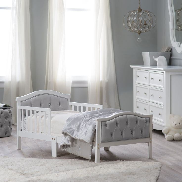 Orbelle Upholstered Toddler Bed - Gray/French White | from hayneedle.com