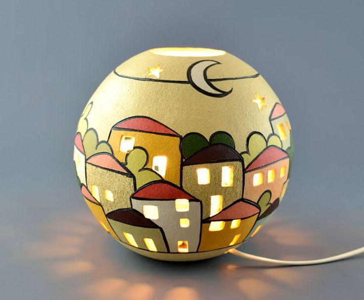 Lampada da tavolo in ceramica gres a sfera Urbe | KRISMAKER