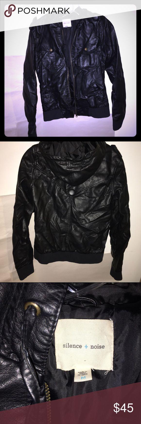 Silence + Noise Faux Leather Jacket Good condition hooded bomber jacket. silence + noise Jackets & Coats
