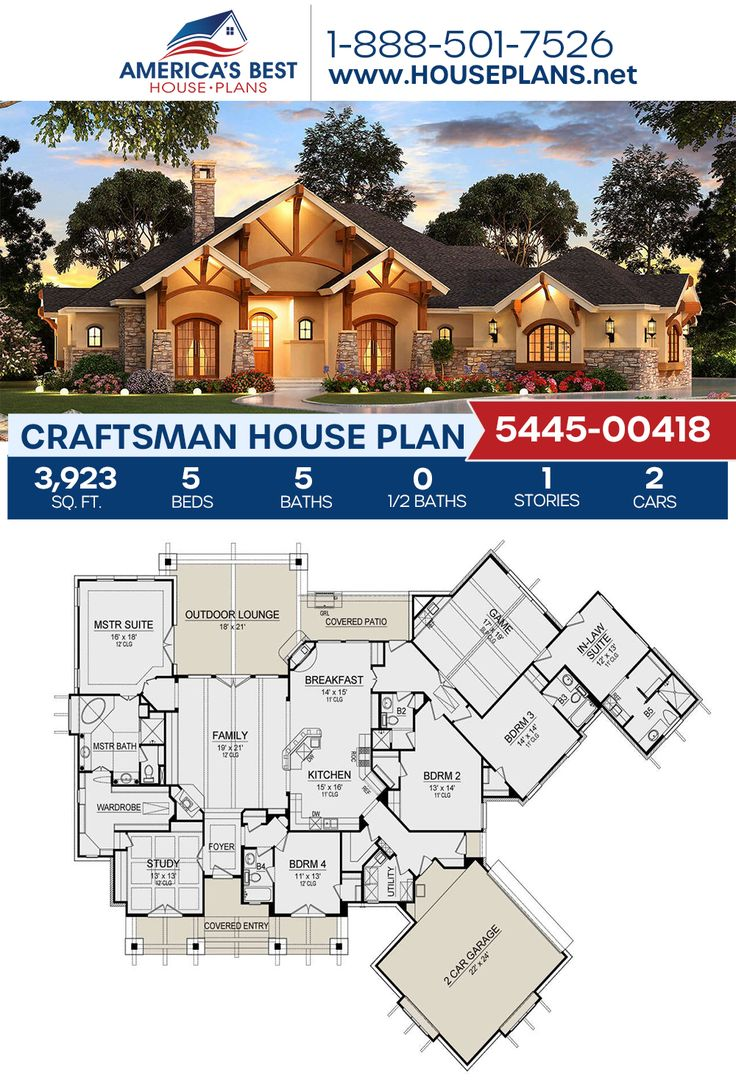 House Plan 5445 00418 Craftsman Plan 3 923 Square Feet 5 Bedrooms 5 Bathrooms One Level House Plans Craftsman House Plans Multigenerational House Plans