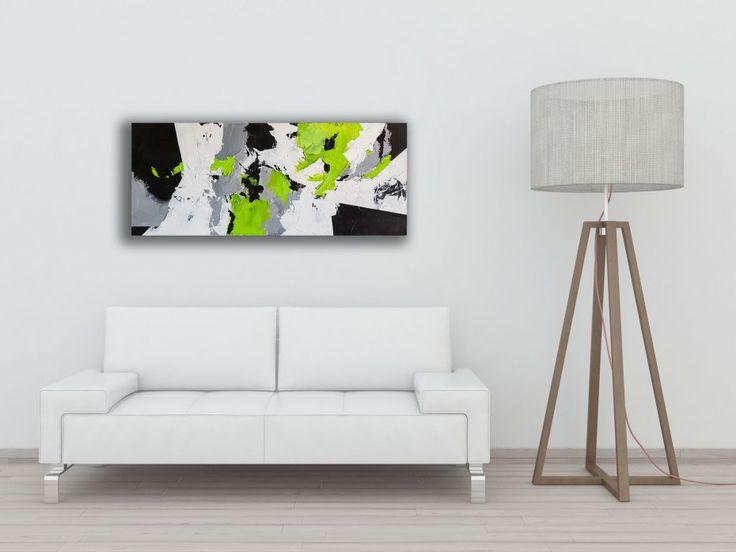 Śnieżna łąka - 50x100cm - abstrakcyjny obraz ręcznie malowany na płótnie - Sztuka - DecoBazaar