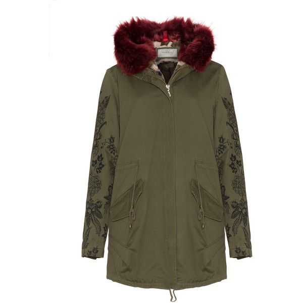 Open End Khaki-Green Plus Size Faux fur trimmed parka (£320) ❤ liked on Polyvore featuring outerwear, coats, plus size, plus size parka coats, camo coat, camouflage coat, lightweight coat and fur-lined parkas
