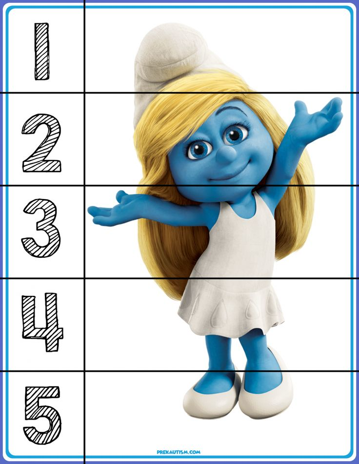 FREE! Smurfs Number Puzzles - Autism & Education