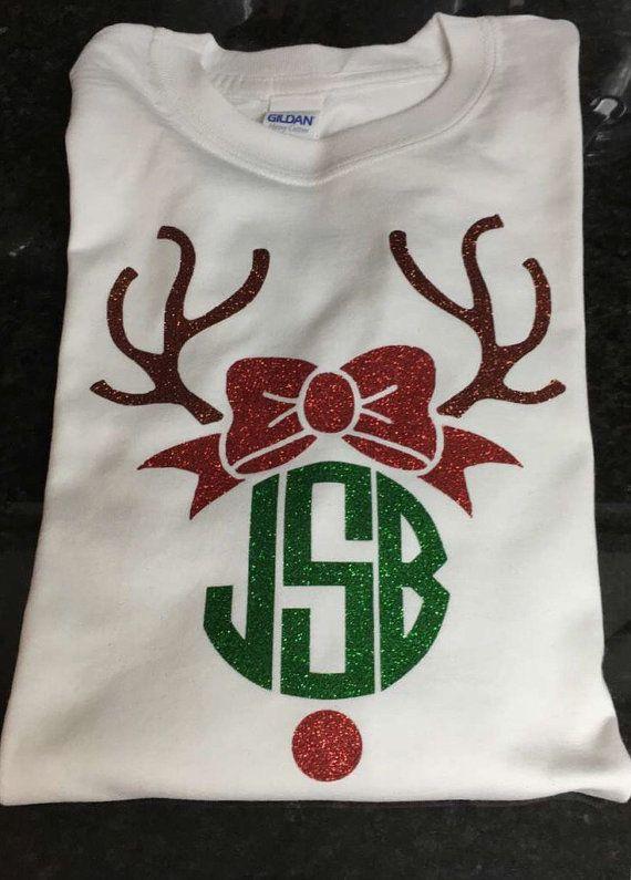 Rudolph Monogram Christmas LONG SLEEVE t-shirt, Reindeer Monogram Shirt, Christmas t-shirt, Monogram Christmas Tee