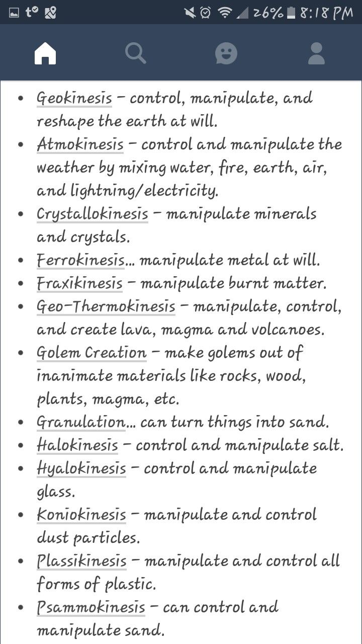 A new list of psychic powers....