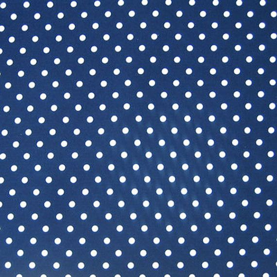 Blue Fabric White on Navy Blue Polka Dot Cotton by fabricandribbon