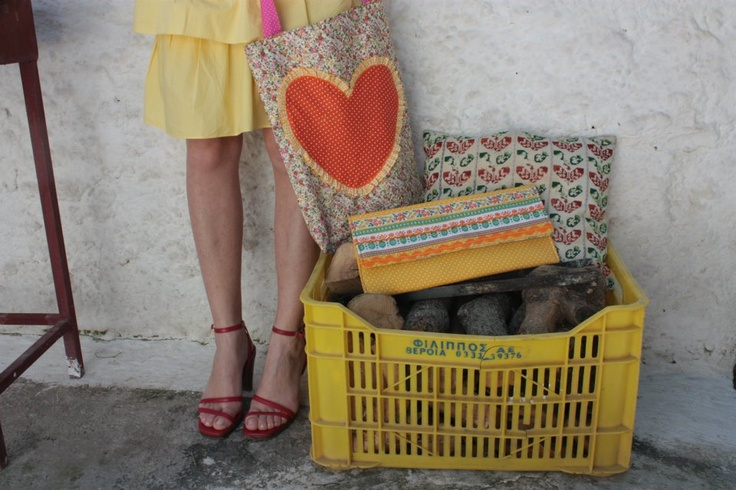 sweetcase handmade cotton shopping bag &  yellow cotton clutch bag.