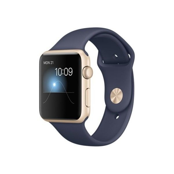 Apple Watch Sport 42mm Gold Aluminum Case with Midnight Blue Sport... ($349) ❤ liked on Polyvore featuring jewelry, watches, yellow gold watches, gold wrist watch, gold watches, gold jewelry and sport watches