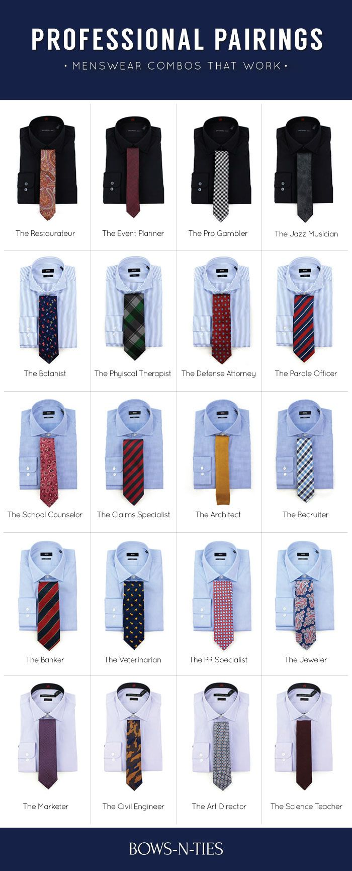 Ties to wear by Profession. Twenty MENSWEAR combos that WORK | Professional Pairings.