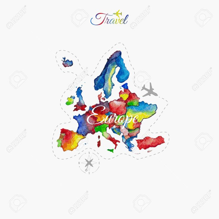 Travel Around The World. Europe. Watercolor Map Royalty Free Cliparts, Vectors, And Stock Illustration. Image 46155242.