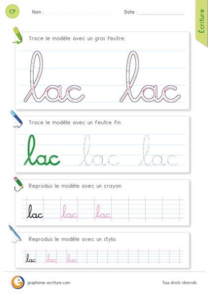 Fiche d'écriture CP – CE1 : écrire le mot lac en cursive – Associer les boucles et arrondies