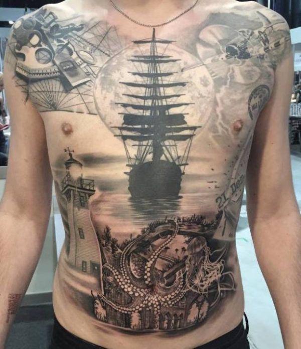 tattoo sea monster ship tattoo. Black Bedroom Furniture Sets. Home Design Ideas