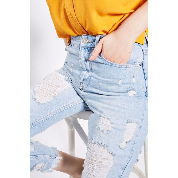 Topshop Moto Extreme Ripped Bleach Mom Jeans (77 CAD) ❤ liked on Polyvore featuring jeans, ripped jeans, distressed skinny jeans, ripped blue jeans, blue jeans and distressed jeans