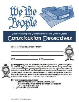 Your students will become detectives and research the U.S. Constitution in a fun and meaningful way. This is a comprehensive 11-page document that includes questions about the Constitution. The questions are all referenced by the Article and Section within the Constitution. This project will make learning about this important document more understandable for your students. It is written in user friendly terms, not 1780s language. It also includes an ANSWER KEY!  $