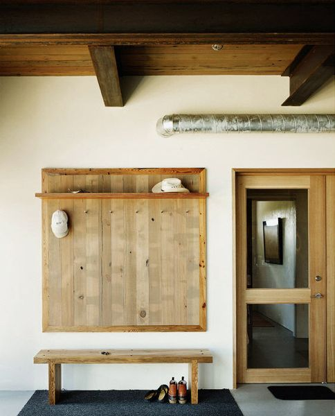 Coat Rack Panel, Shelf and Bench of Wood
