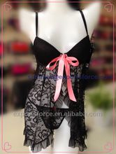 Ladies Sexy Hot Lingerie, black lace bow polyester push-up babydoll sets with G-string Best Seller follow this link http://shopingayo.space
