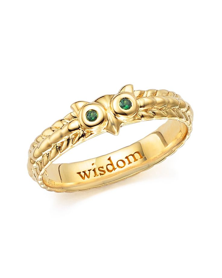 "Monica Rich Kosann 18K Yellow Gold Owl Poesy Ring with Green Tsavorite ""Wisdom""  Pinned by www.myowlbarn.com"