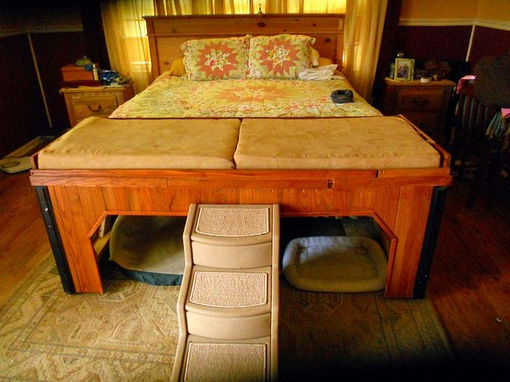 A 4 dog bed, complete with top and bottom bunks, an easy-access stairway, and left and right entryways.