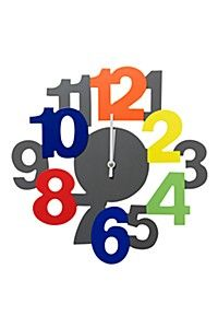 PRIMARY NUMBERS WOOD CLOCK