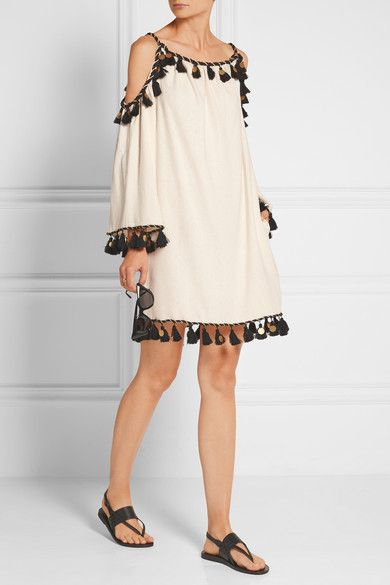 Cute ivory silk and black gold tasseled dress from Rachel Zoe - perfect for tropical vacay