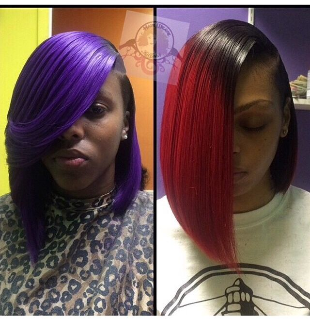 Purple And Red Bobs Bond In Quickweave Hair Amp Weaves