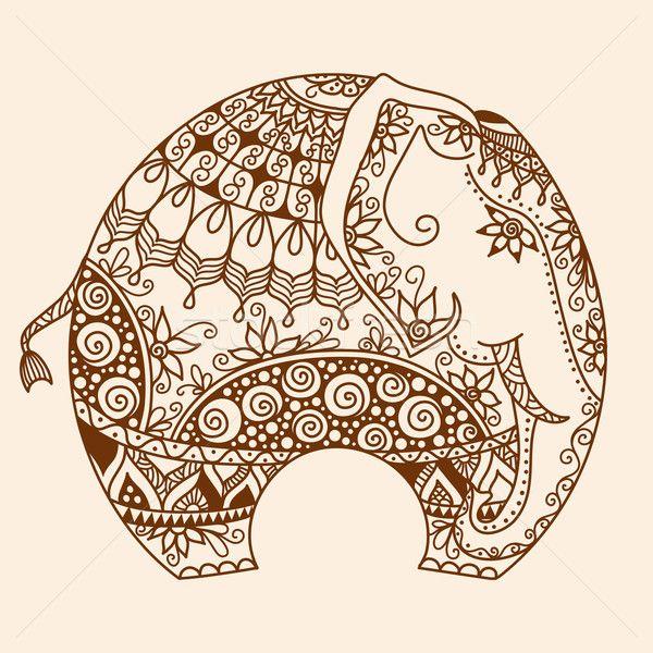 Сток-фото: вектора · хна · украшенный · индийской · слон · татуировка