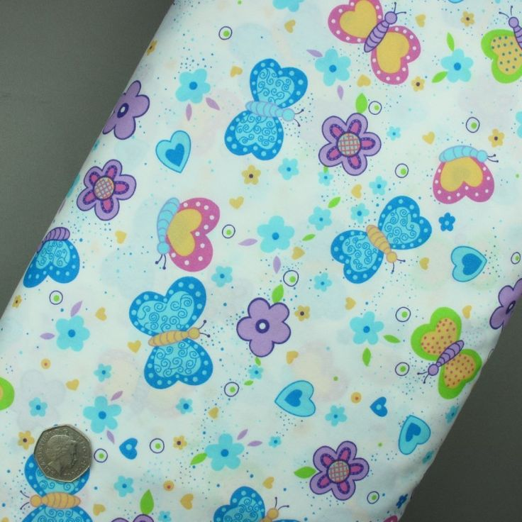 Butterflies, Hearts and Flowers on White fabric 100% cotton - sold per metre