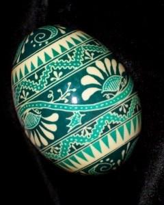 Ukranian egg in teal tones by Eggs By Teresa
