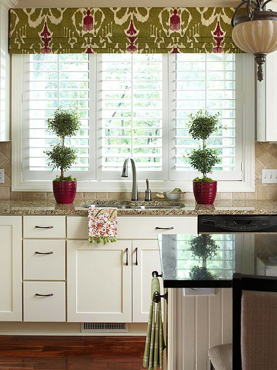 Window Treatments - While full-length drapes are impractical for kitchens and baths, these spaces can still benefit from colorful window treatments. Consider cafe curtains and valances in fun patterns and colors for the same effect.