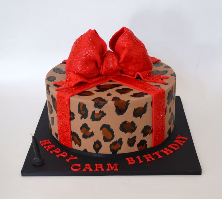Leopard Print Cake with Red Bow