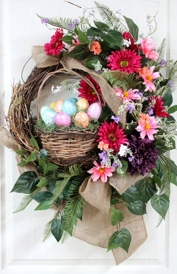 Easter Country Front Door Wreath Easter Basket Easter