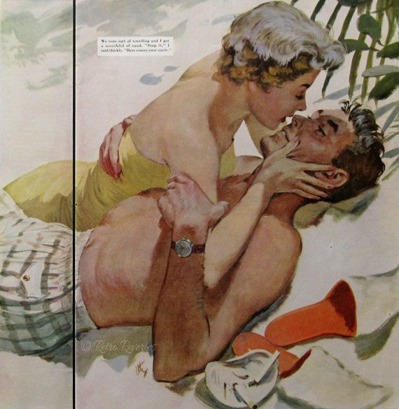 1954 Thornton Utz Illustration - The Florida Assignment - 1950s Romantic Couple Kissing on the Beach - Midcentury Vintage Art Print