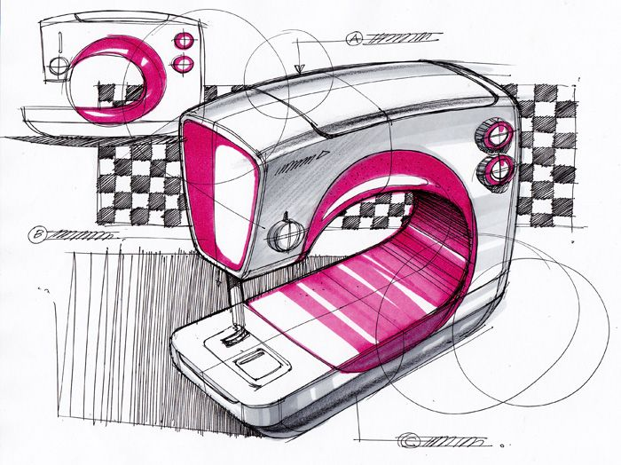 Sketch-A-Day Roundup: Industrial Design sketch of a sewing machine by Spencer Nugent