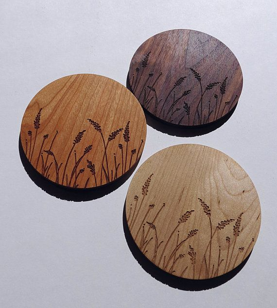 CoastersWood Laser EngravedLavenderset of 4 by GrainDEEP on Etsy