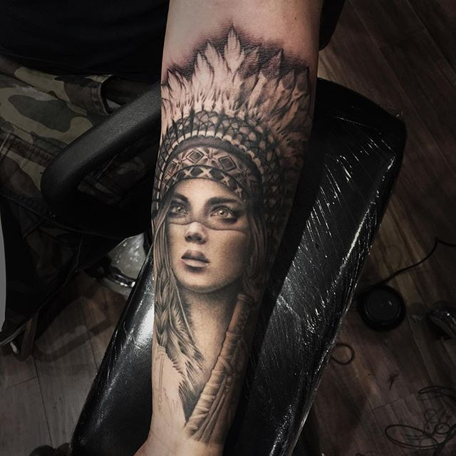 I'm happy with the way this sleeve is coming along #tattoo#blackandgreytattoo#nativeamerican#nativeamericantattoo#headdress#nytattoo#nyc#queens#queenstattoo#realism#realismtattoo#inkjecta#portrait#portraittattoo#blackwork#blackworktattoo#darkart#darkartist