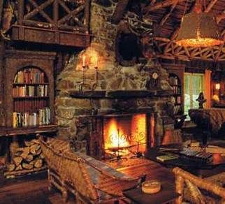 Stone fireplace designs and Cabins and cottages