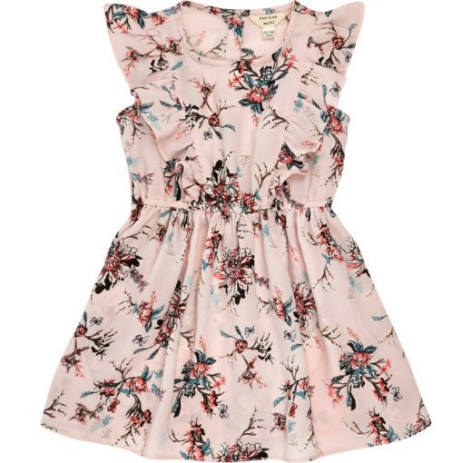 Checkout this Mini girls pink floral ruffle dress from River Island