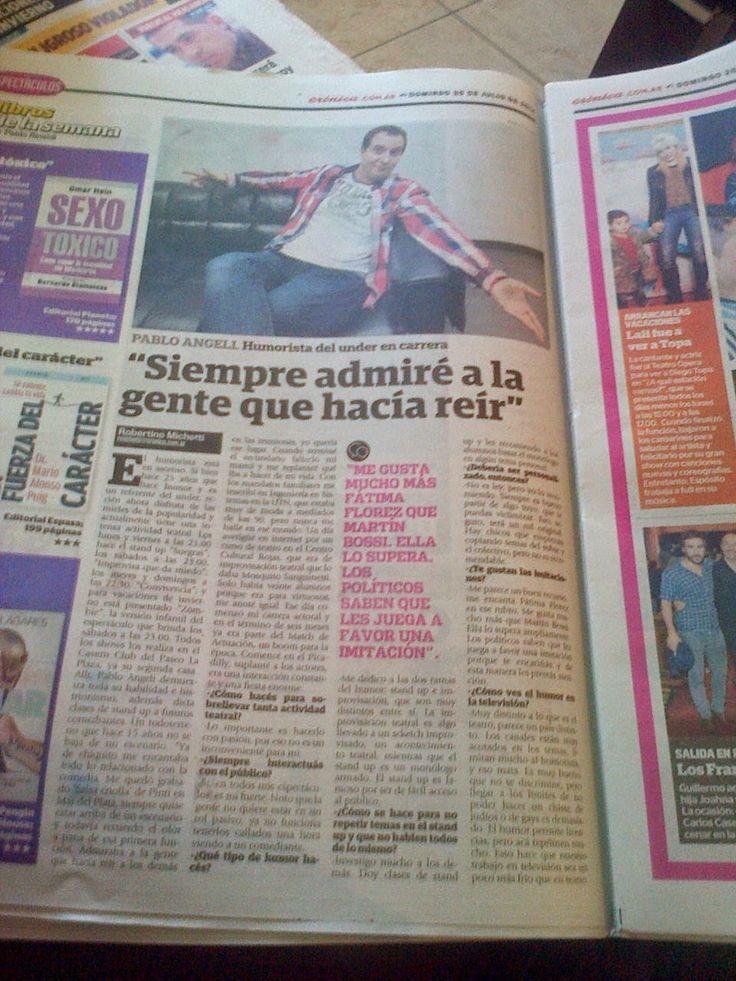 Pablo Angeli: Hoy salio la entrevista que me hizoDiario Cronica...