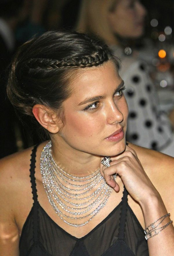 updo with a braid accent. Charlotte Casiraghi