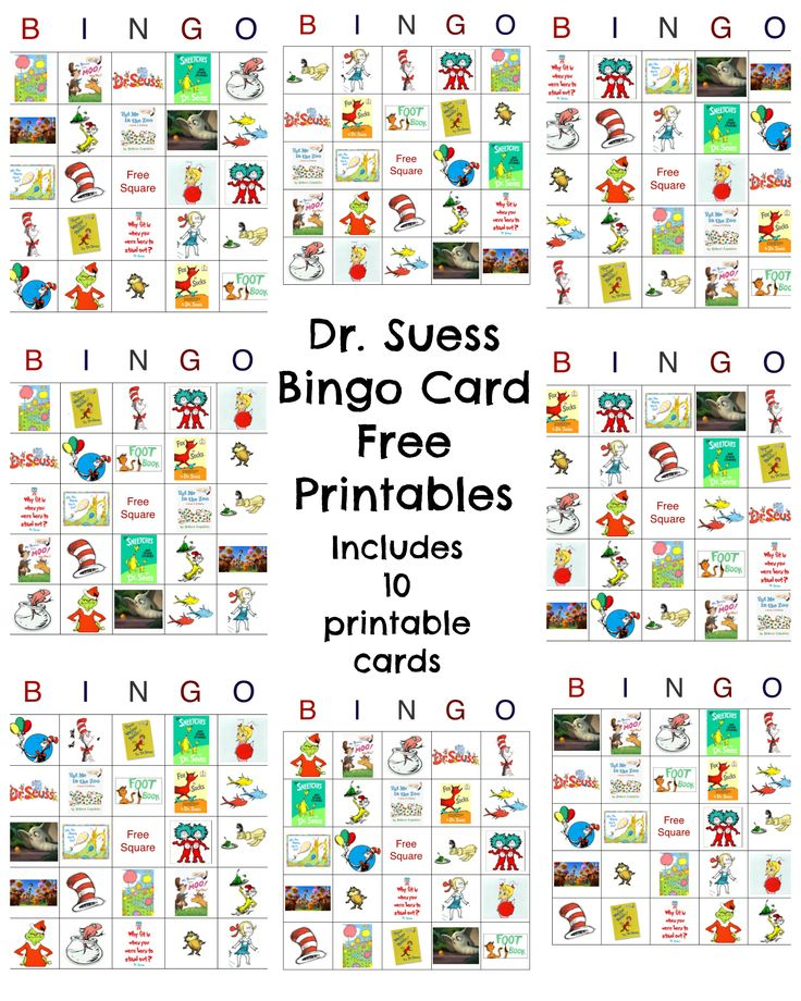 Happy Birthday Dr. Seuss! Dr. Seuss Free Bingo #printable Includes 10 game card…