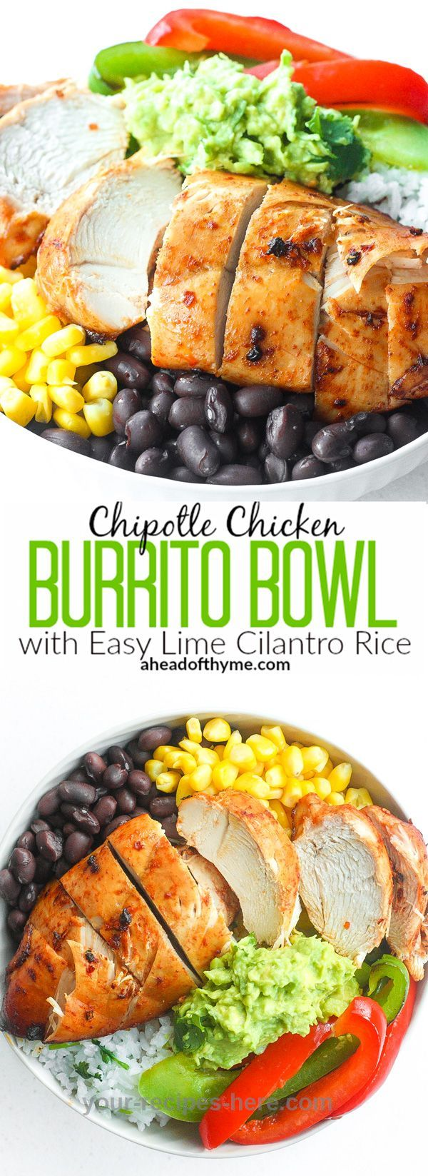 Chipotle Chicken Burrito Bowl with Easy Lime Cilantro Rice: Baked, tender…