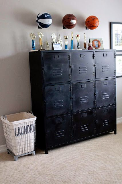 Locker cabinet, sports ball racks and industrial laundry bin