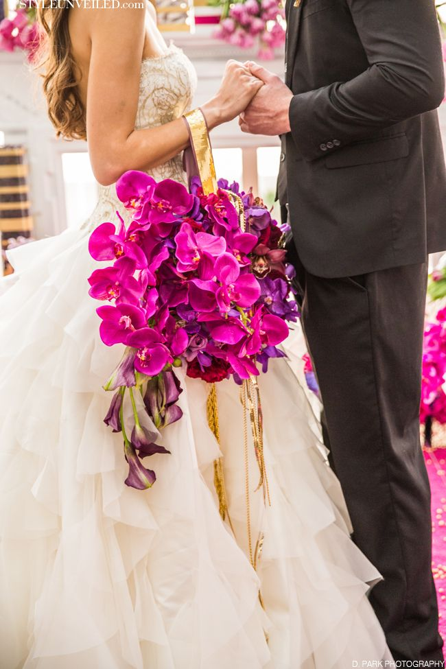 Radiant Orchid Bouquet, Shawna Yamamoto Design, D. Park Photography, radiant orchid, pantone color of the year, fuchsia and purple orchids, golden ribbon